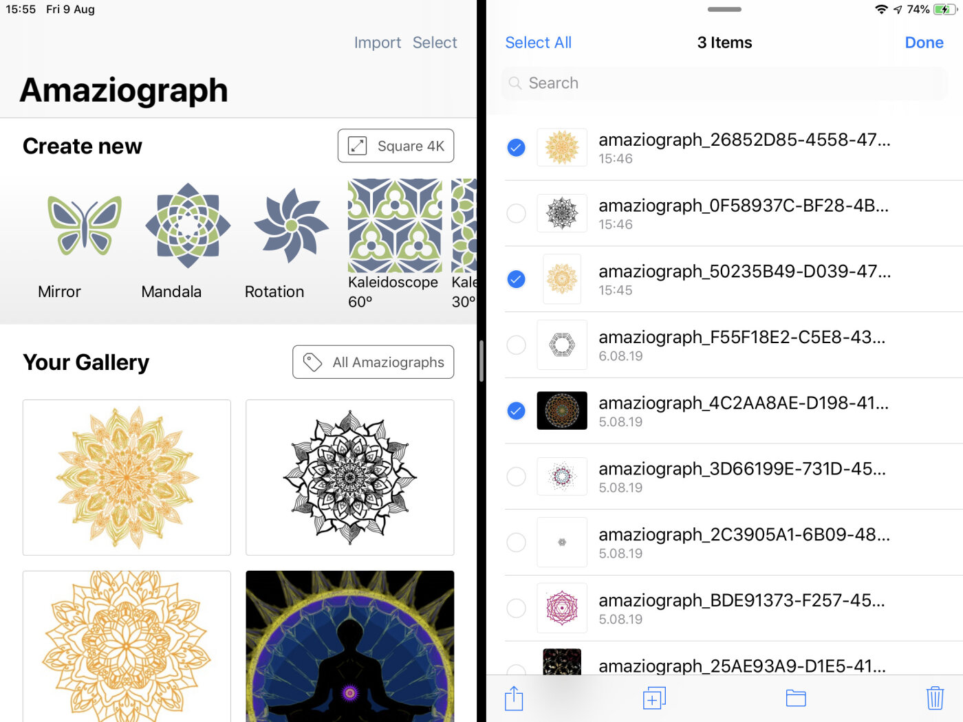 Open Files on your iPad and copy Amaziograph files.