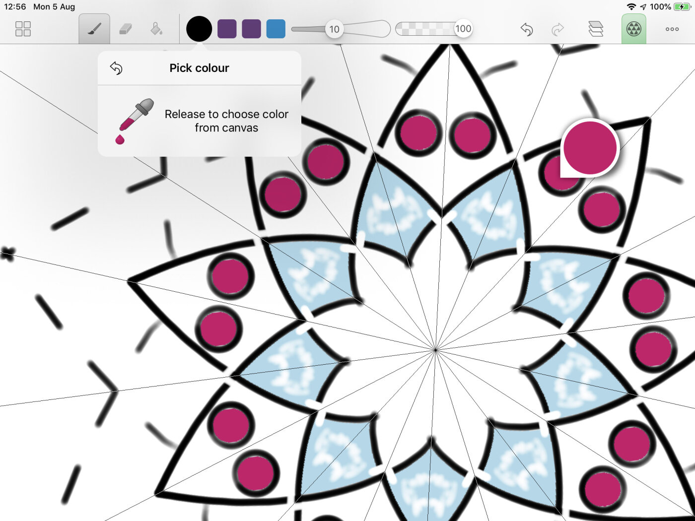 Pick up colour tool. Drag a user-definable colour, right to the canvas.
